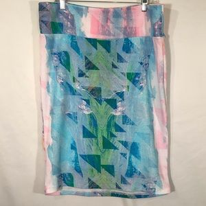 Lularoe Cassie Skirt in a blue and pink watercolor